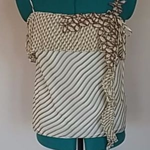 BCBG 100% silk Cami w/pleated and embroidered trim